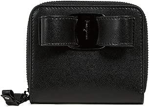 Salvatore Ferragamo Women's Vara Rainbow Zip French Wallet, Nero, Black, One Size