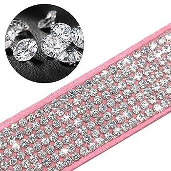 ETOPARS Laisses de Collier de Chien Strass, Cristal de Diamant Ensemble de Laisse pour Collier de Chien, Collier en Strass pour Chien Mignon
