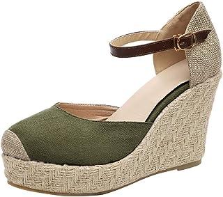 69c239321d819a Alaso Mesdames Chaussure Mode Sandale Espadrille Lanière Cheville Compensé  Plateforme Sandales Bout Fermé Femme avec de