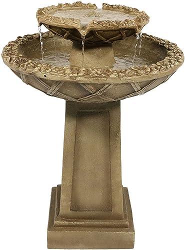lowest Sunnydaze Beveled Flower Outdoor Water Fountain - 2-Tier Backyard Water popular Feature & Bird Bath Garden Fountain for Outside Patio, Lawn, 2021 & Yard - 28 Inch outlet online sale