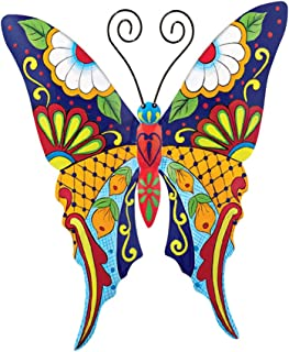 Collections Etc Colorful Metal Mexican Talavera-Style Insect Garden Wall Art for Indoor and Outdoor Decoration, Butterfly