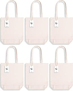 Lily Queen Cotton Canvas Tote bag Blank Cloth Shopping Bags Reusable Grocery Bags Washable with Flat Bottom 15 x 13 x 4 Cream (6 Pack)