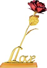 Kids Mandi 24K Red Golden Rose 10 Inches with Gift Box - Best Gift with Stand