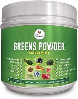Greens Powder Supplement with Green Veggies & Fruits, Wheatgrass, Spirulina, Digestive Enzymes and Probiotics