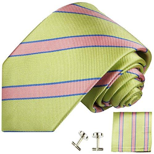 Cravate vert rose rayée ensemble de cravate 3 Pièces ( 100% Soie Cravate + Mouchoir + Boutons de manchette )