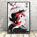 DIANFANBAO Plakate und Druck Japan Ruby Geisha Koi Fisch
