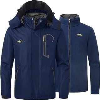 Wantdo Men's 3 in 1 Mountain Waterproof Ski Jacket Windproof Rain Jacket Winter Warm Snow Coat