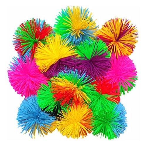 NUOBESTY 6 stücke 6 cm AFFE Stringy bälle, weiche aktive sensorische bälle spaß Spielzeug, Regenbogen pom Bouncy Ball Bunte zappeln Spielzeug springenden Flauschigen jugging Ball (zufällige Farbe)
