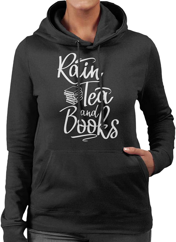 Cloud City 7 Rain Tea and Books Weiß Text Text Text Woherren Hooded Sweatshirt B07K287DT9  Fashionista e5b631