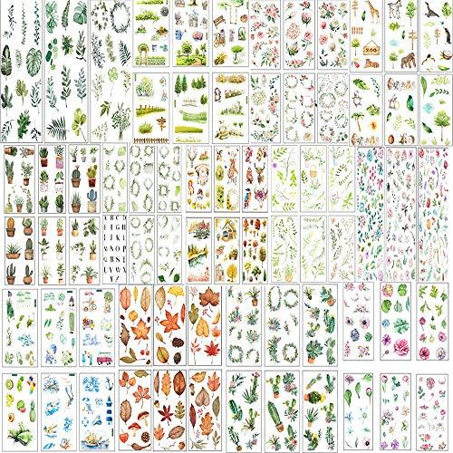 72 Blatt Scrapbooking Aufkleber Sticker Blätter Blumen Tiere Stickerbögen aufkleber Sticker für Scrapbooking Fotoalbum Kalender Bullet Journal Tagebuch Notizbuch DIY Deko Stickerbuch Stickeralbum