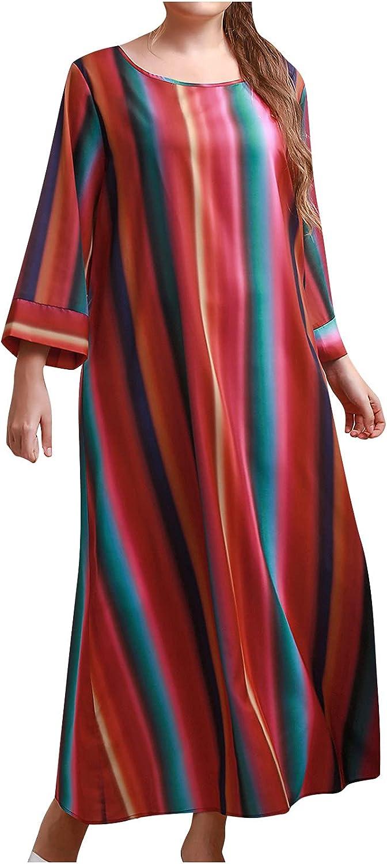 Plus Size Dress for Women Casual Maxi Dresses Cotton Linen Bohemian Long Skirt Stripe Print O Neck Beach Sundress