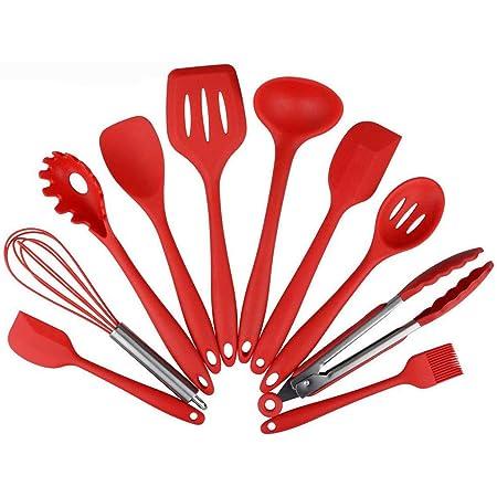 Conjunto de Utensilios de Cocina, Utensilios de Cocina de Silicona Juego de 10 piezas no Tóxicos Resistente al Calor Antiadherente Herramientas de Cocina para Uso Doméstico(rojo)