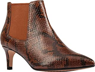 Clarks Women's Laina 55 Boot 2 Ankle Boot, Dark Tan Snake, 8 W