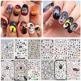 1500pcs Halloween Nail Art Stickers Decals, Kalolary Self-Adhesive DIY Nail Decals Sticker for Halloween Party, Pumpkin/Witch/Bat/Ghost/Skull Nail Decorations