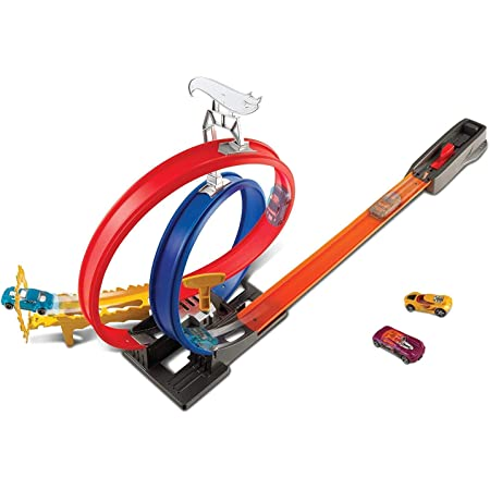 NILUS Birch ABS And PP Racer Car Track Set With Car And Launcher, Multicolor, Racer Car Track Set With 2 Car And Launcher