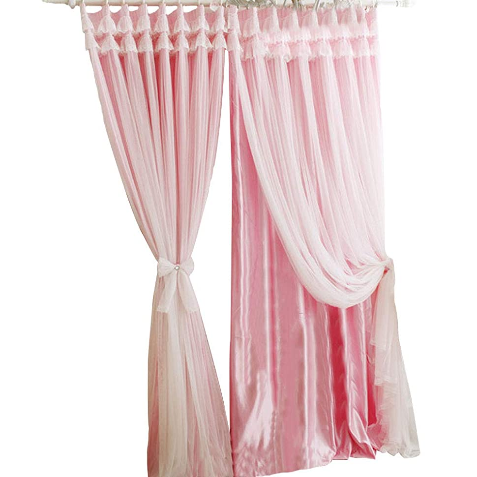 キャッシュ隠ひらめき姫系 可愛いカーテン! レース付き二重カーテン 高級 遮光 2枚入り 全5色5サイズ【きれい】
