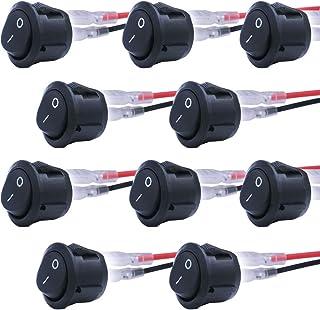 mxuteuk 10 Stück Snap in Rundboot Wippschalter Kippschalter mit Kabel SPDT EIN AUS EIN 3 polig AC 250V 6A 125V 10A, Verwendung für Auto Auto Haushaltsgeräte 1 Jahr Garantie MXU1 5 101 CX