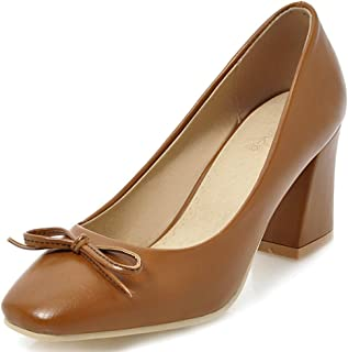 Judy Bacon Women's Sweet Bows Square Toe Chunky Mid Heel Pumps Shoes for Office Brown