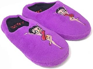 Betty Boop Ultra-Soft Women's Plush Pinup Scuffs Cozy Non-Skid Slippers - Great for Gifts