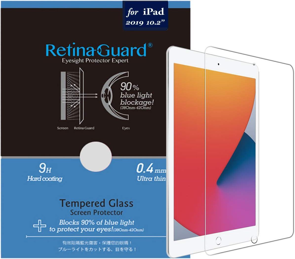 RetinaGuard Anti Blue Light Tempered Glass Screen Protector for 2020 iPad 8th Gen / 2019 iPad 7th Gen, SGS Tested, Blocks Excessive Harmful Blue Light
