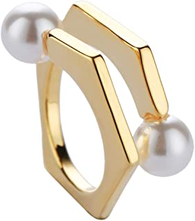 Rings for Women, 14K Gold Adjustable rings,Lovely Beaded Rings,Freshwater Cultured Pearl Charm Exquisite Rings