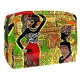 TIZORAX - Bolsa de maquillaje para mujer africana, PVC, bolsa de maquillaje, artículos de aseo de viaje, práctico organizador para mujer