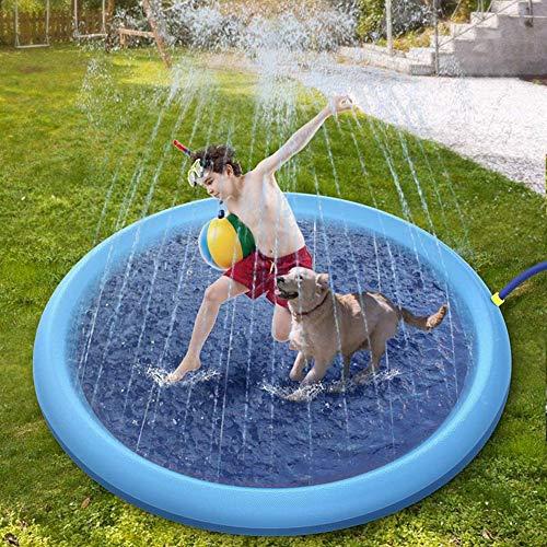 XXCLZ Juguetes inflables de rociadores de pulverización de Agua de Verano los niños juegan Juegos de césped Agua Mat Pad Juego Divertido Piscina al Aire Libre 150cm Juguete,150 * 150CM
