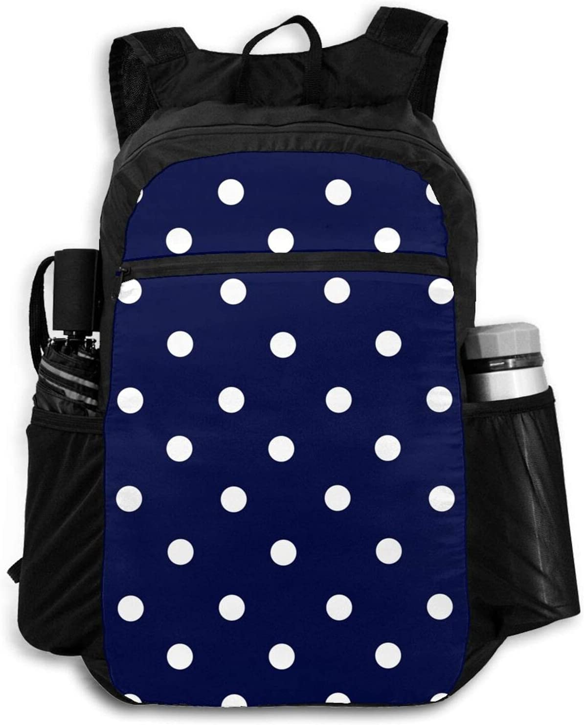 Zolama White Dots Dark Blue Backpacks Packabl Women for Men Large discharge Max 52% OFF sale Cute