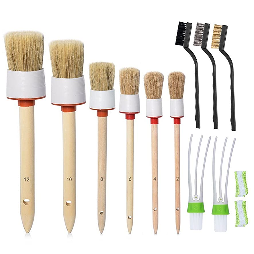 Petift 11 Pieces Auto Detailing Brush Set,6pcs Natural Boar Hair Detail Brush,2pcs Automotive Air Conditioner Cleaner Brush,3pcs Wire Brush for Car Cleaner Cleaning Wheels,Interior,Exterior,Leather