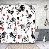 Decoración auspiciosa Acuarela Cortina de ducha de pollo 60x72 in, Tejido de poliéster American Western Farm House Decoraciones de baño, Ganchos de cortina de baño de gallo incluidos