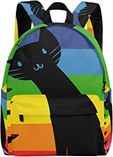 MALPLENA Malpleda - Mochila para Hombre, diseño de Gato y Pescado, Color Negro