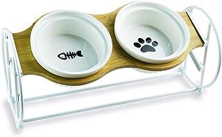 BUJINYUN ペットボウル 猫 食器2段階調整 自然木製 食べやすい 猫用 フード ボウル 食器台 小型犬 エサ入れ 斜め ネコ 餌 台 ねこ 餌入れ 皿陶器 (白い)