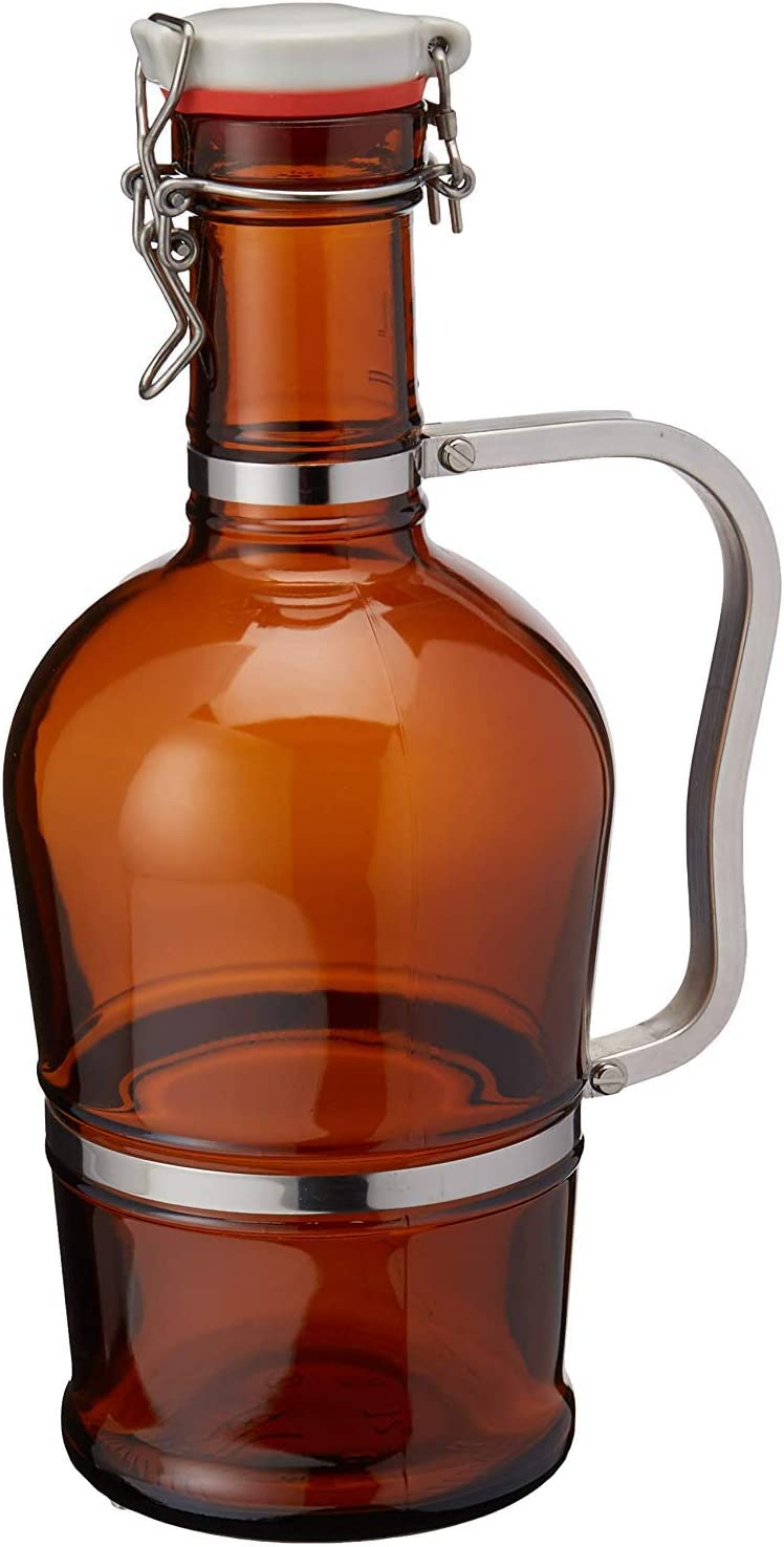 Swing Top Amber Beer Growler with Max 71% OFF 2 Lit Steel 55% OFF Handle Stainless -