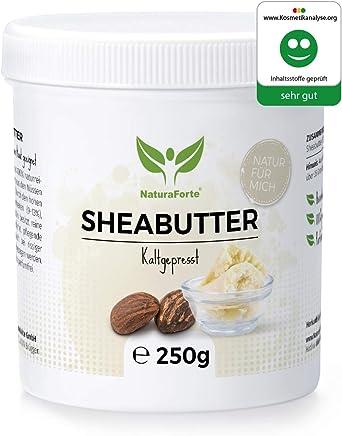 NaturaForte Sheabutter 250g - Rein & Natürlich, Kaltgepresst & Unraffiniert, Premium Shea Butter, Feuchtigkeitsspendend & Rückfettend, Laborgeprüft, Parfümfrei & Ohne künstliche Zusätze