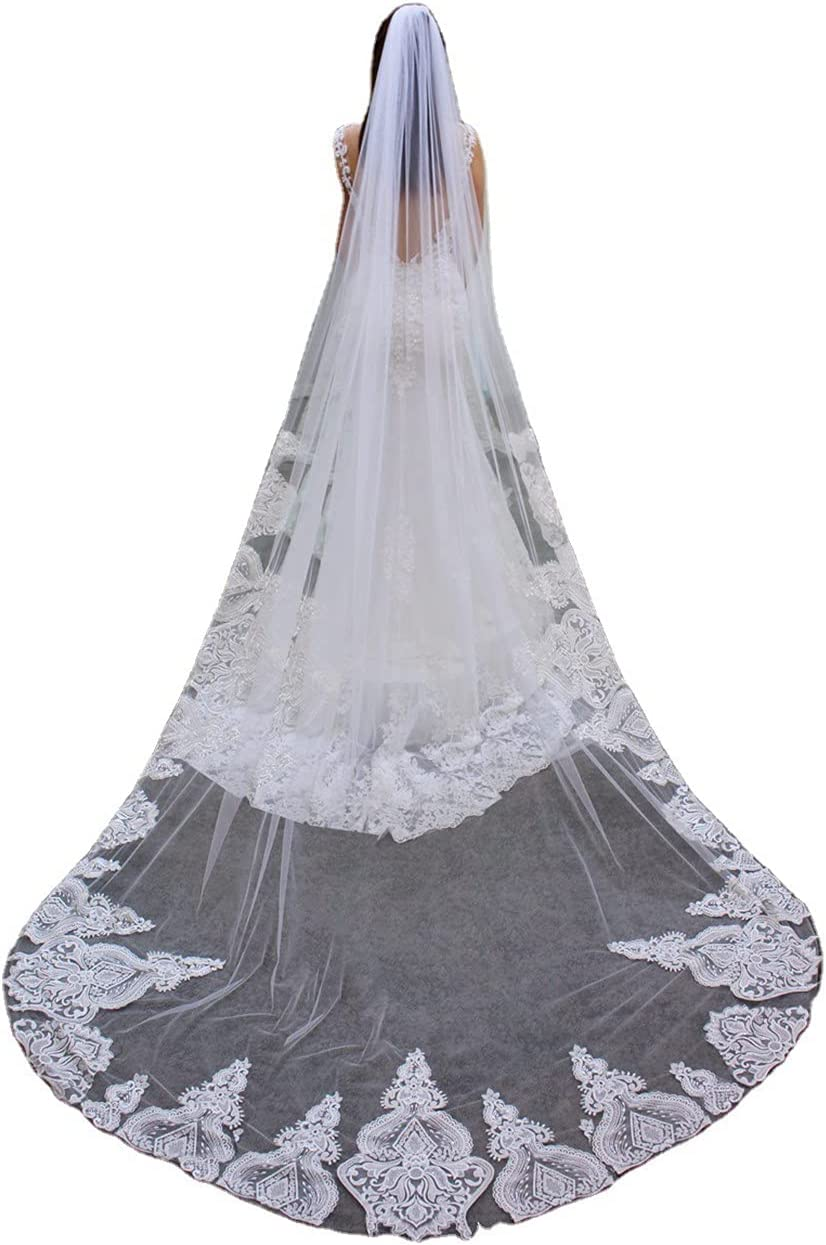 JZJZ supreme Wedding Veil Bridal Embroider Lace Edge Atlanta Mall Cathedral V
