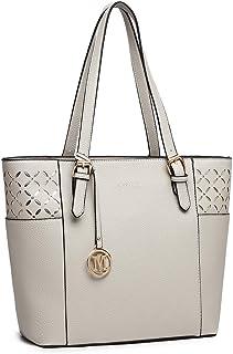 Miss Lulu Damen Schultertasche Elegant Shopper Tasche (Grau-1)