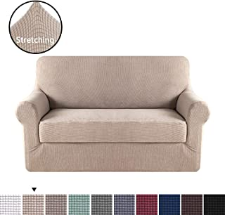 H.VERSAILTEX 2 Pieces Sofa Slipcover Slip Resistant Stylish Furniture Cover/Protector Jacquard Spandex Stretch Sofa Cover/Slipcovers (Loveseat 2 Seater, Sand)