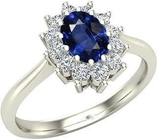 Princess Diana Genuine Diamond & Sapphire Ring, 14K White Gold