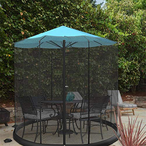 Pure Garden 50-LG1205 Bug Screen for 10-11 Table Umbrellas & Furniture Patio Umbrella Mosquito Net, Black