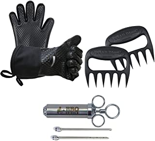 Pork Kit: Original Bear Paws, Cotton Lined Silicone Gloves and Meat Injector - 3 Great BBQ Accessories for Meat Smoking