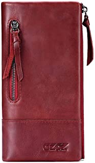 Leather Lady's Purse Head Layer Leather Long Hand Bag Zipper Change Purse Cell Phone Bag (Color : Red, Size : S)