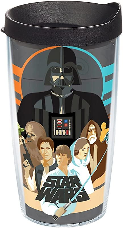 Tervis 1254453 Star Wars Classic Group Insulated Tumbler With Wrap And Black Lid 16 Oz Clear