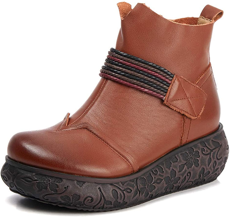 Boots Womens Vintage Comfort shoes Wedge Heel Ladies National Style Booties 2018 Autumn Winter