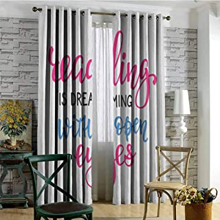 hengshu Book Wear-Resistant Color Curtain Reading is Dreaming with Open Eyes Quotation Print on White Background 2 Panel Sets W84 x L96 Inch Azure Blue Magenta Black