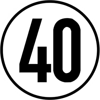 Geschwindigkeitsschild 40 km/h, 20cm nach §58 StVZO, Folienaufkleber zur Anbringung Karosserie aussen, Aufkleber, Geschwindigkeit, rund, für Traktor, LKW, Rollstuhl,