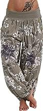 Lishfun Women Casual Print Pants Wide Leg Pants Loose Pocket Button Harem Pants Wholesale N4,Army Green,4XL,China