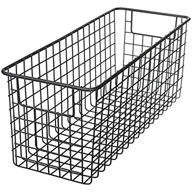 mDesign Household Wire Storage Organizer Bin Basket with Built-In Handles for Kitchen Cabinets, Pantry, Closets, Bedrooms, Bathrooms - 16  x 6  x 6 , Pack of 2, Matte Black