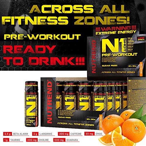 Nutrend N1 Shot 20x60ml Orange Flavour Body Stimulant than the instant form of pre-workout promote muscle pumping Beta-alanine, AAKG Taurine DMAE