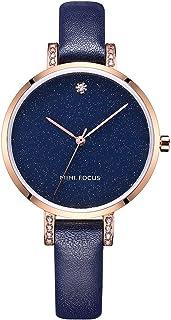 Lady watch MINI FOCUS Women's Quartz Dress Watch Star Watch with Blue Leather Band Quartz Watch for Women