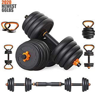 Pinroyal 4 in 1 Fitness Dumbbell Barbell Kettlebells Push-up Combination Set, Adjustable Weight Home Fitness Equipment with Connecting Rod for Every Type Training, 30KG/ 66Lbs (Pair)